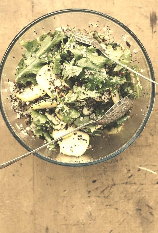 zucchini quinoa salad with lemon, mint, and chile