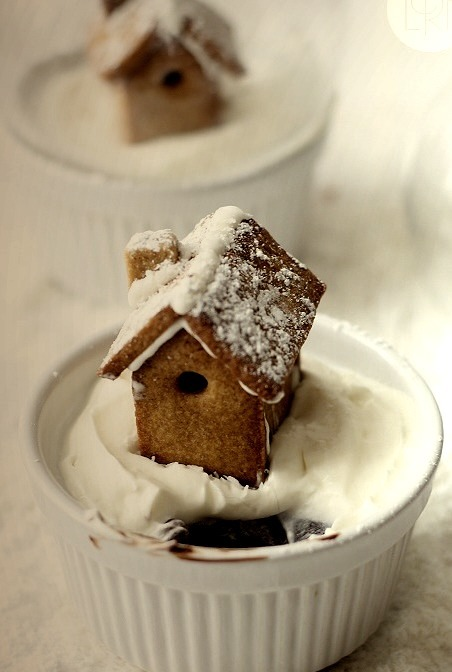 Gingerbread Cookie with Edible Snow Globe Over Chocolate Cake