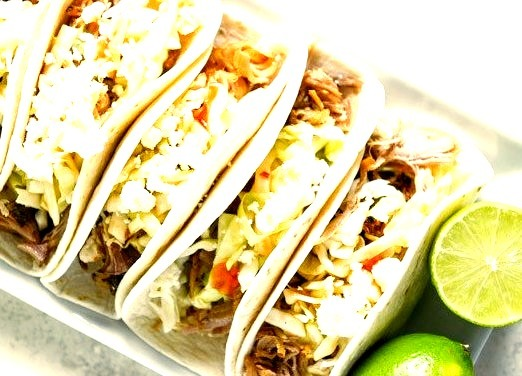 Slow Cooker Pulled Pork Tacos with Sweet Chili Slaw