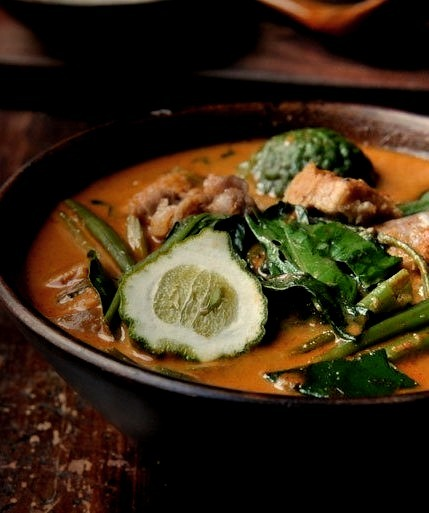 Thai Red Curry with Pork Belly and Water Spinach