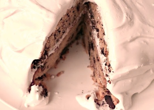 Sour Cream Chocolate Chip Cake with Marshmallow Frosting
