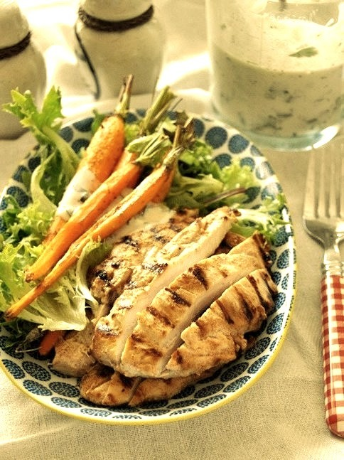 Grilled Garlic & Buttermilk Chicken Salad with Buttermilk-Tahini Dressing via Fuss Free Cooking