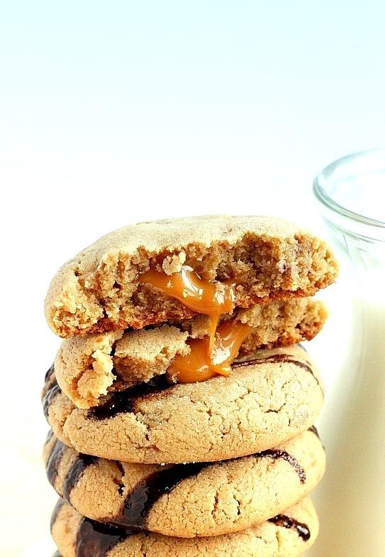 Caramel Stuffed Toffee Peanut Butter Cookies