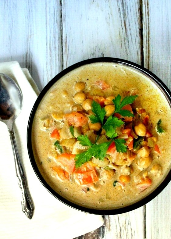 Clean Eating Spicy Chickpea and Tomato Soup